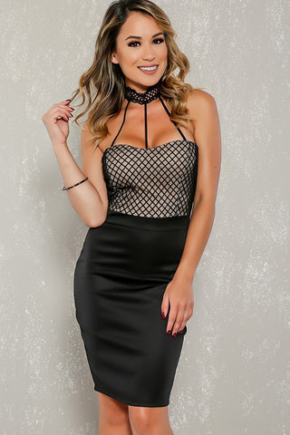 Choker Neck Caged Bodycon Mini Dress