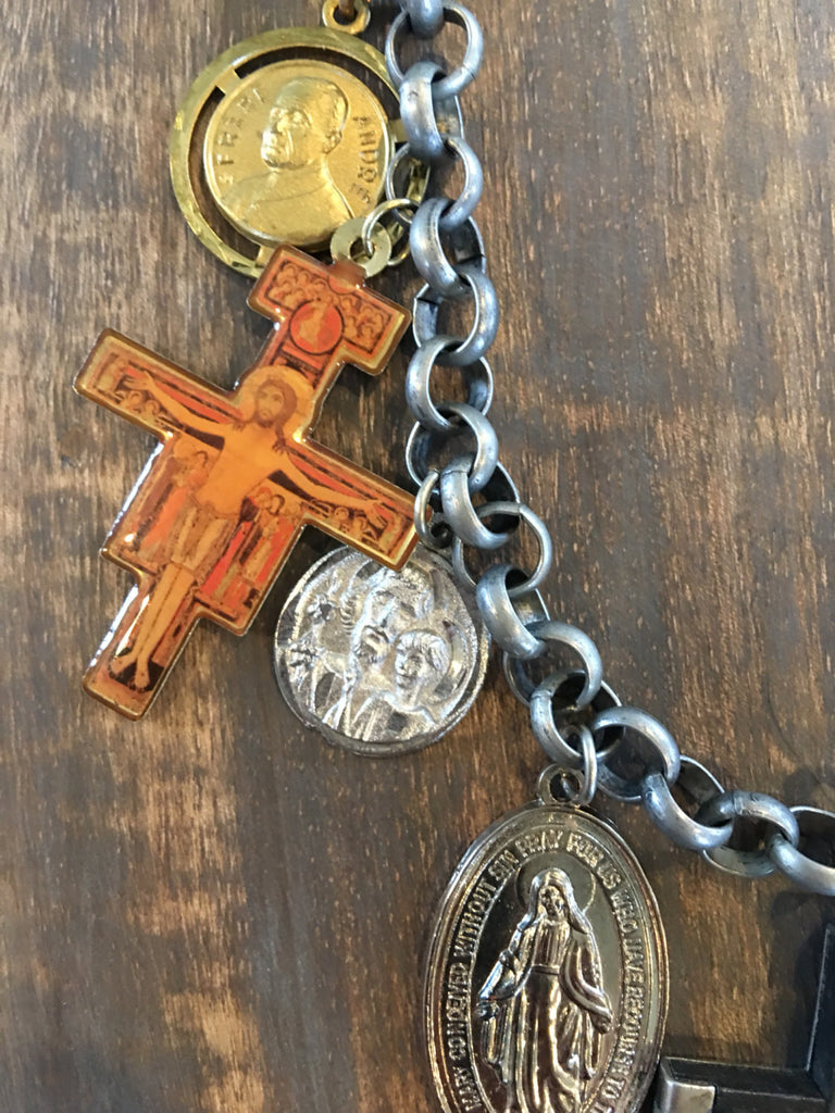 Vintage Religious Medals and Charm Necklace NS-010