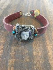 Leather Bracelet with Soldered glass box with vintage photo of a little girl and wire wrapped BL-008