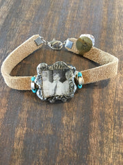 Leather Bracelet with Soldered glass box with vintage photo of 3 young kids and wire wrapped BL-010