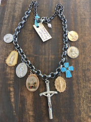 Vintage Religious Medals and Charm Necklace NS-009