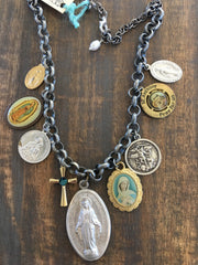 Vintage Religious Medals and Charm Necklace NS-007