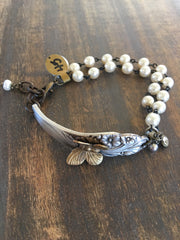 Vintage Silver Spoon Handle Bracelet with soldered brass Butterfly, Rosary Chain and Dangles SJ-019