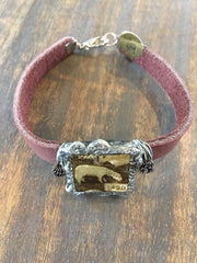 Leather Bracelet with Soldered glass box with vintage photo of a little lamb and wire wrapped BL-009