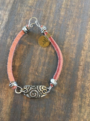 Wire Wrapped Leather and Bracelet with Soldered Stamped Plate BL-013