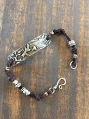 Wire Wrapped Leather Bracelet with Soldered Stamped pieces BL-014