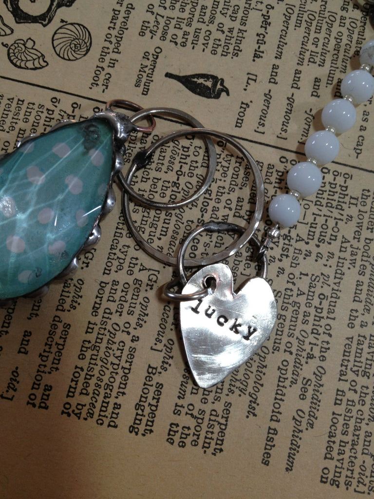 Blue Polka Dot Vintage Chandelier Crystal Bracelet with Hand Stamped Heart B-004
