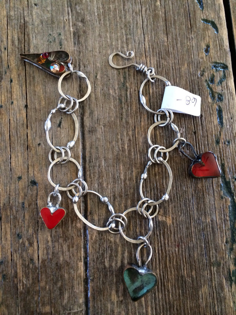 Handforged Resin Heart Charm Bracelet with Vintage Rhinestones B-012