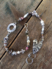 Hand Stamped soldered and beaded double-wrap bracelet B-009