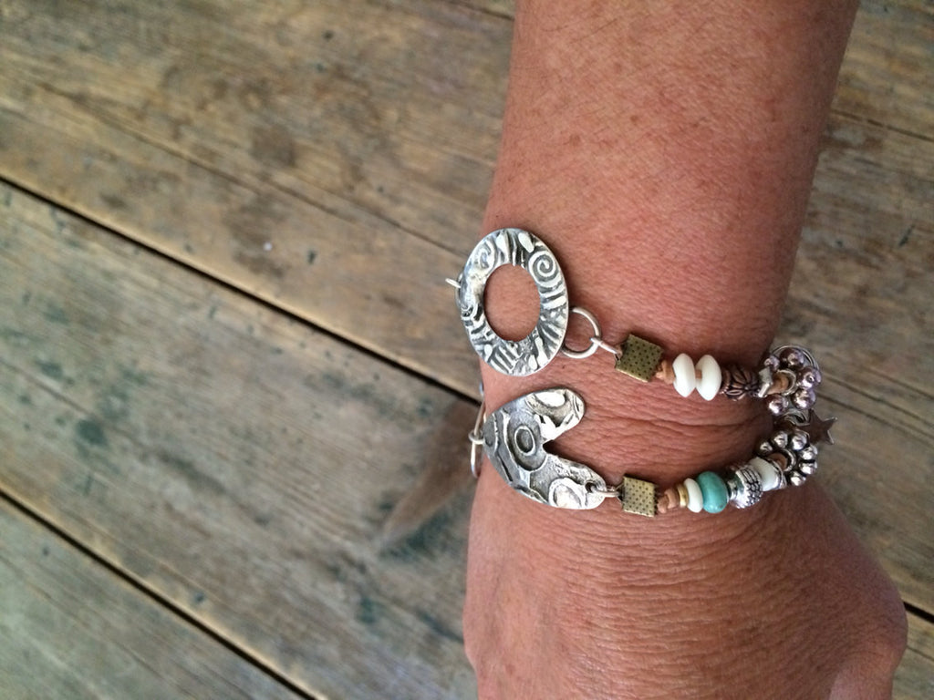 Hand Stamped soldered and beaded double-wrap bracelet B-008