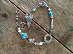 Hand Stamped soldered and beaded double-wrap bracelet B-006