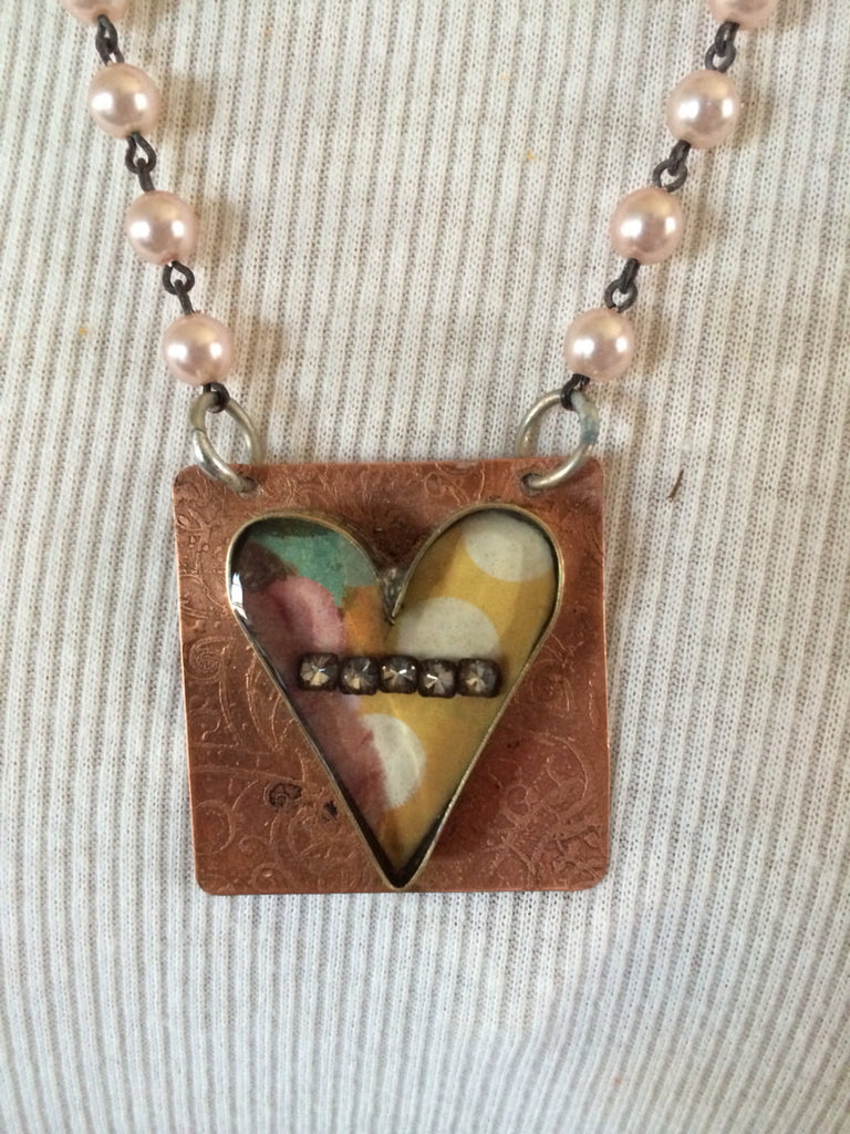 Soldered Brass Heart Bezel Necklace with Rhinestones NR-005
