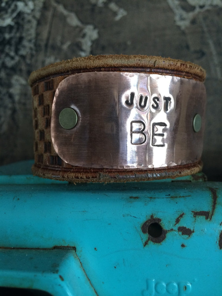 Leather Cuff Bracelet with Copper Stamped plate - JUST BE CL-032