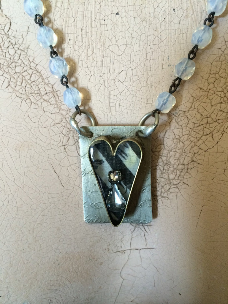 Soldered Brass Heart Bezel Necklace with Rhinestones and Resin NR-009
