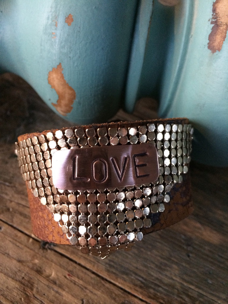 Leather Cuff Bracelet with Liquid Brass and stamped LOVE plate CL-006