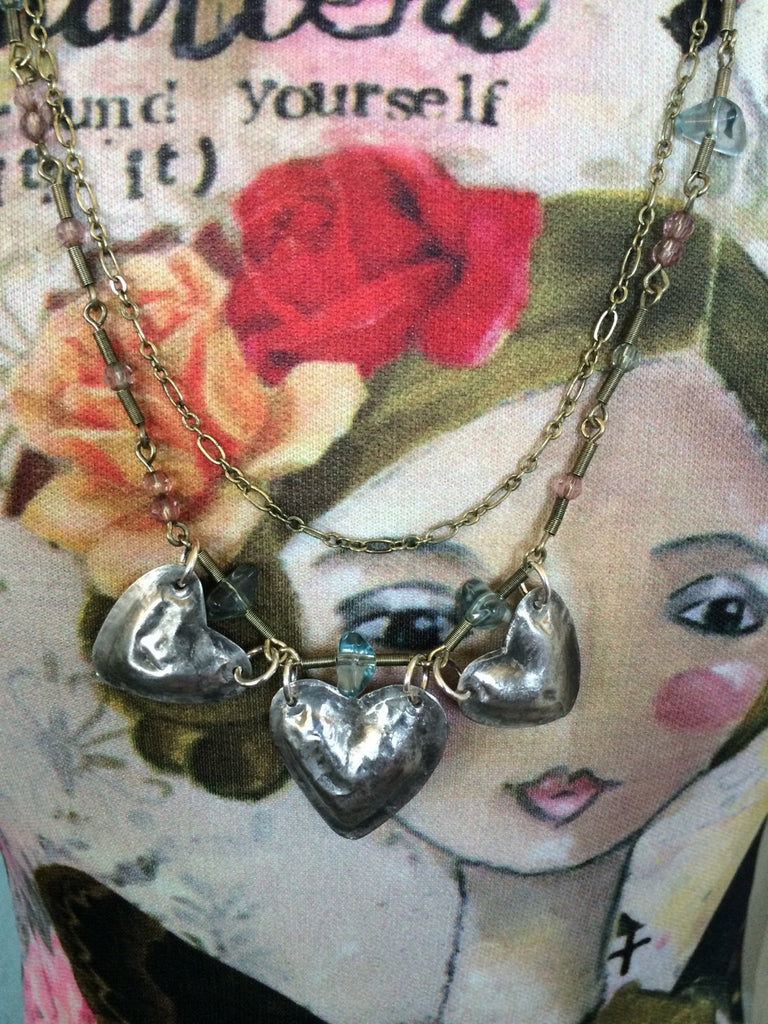 Soldered Triple Heart Puffy Heart and Double Chain Necklace NS-001