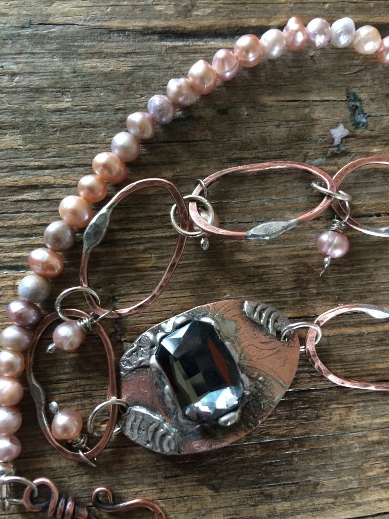 Double Wrap Copper Linked Bracelet with Fresh Water Pearls and soldered Glass Rhinestone B-005