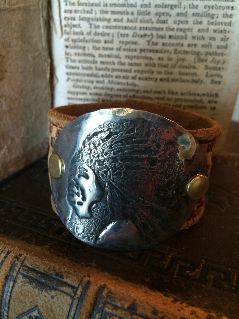 Leather Cuff Bracelet with Copper Stamped plate - LARGE INDIAN head CL-027