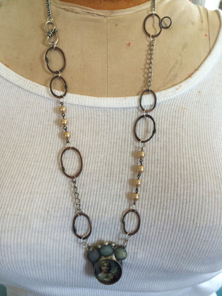 Soldered Brass and Copper Bezel Necklace with Forged Copper Rings NR-006