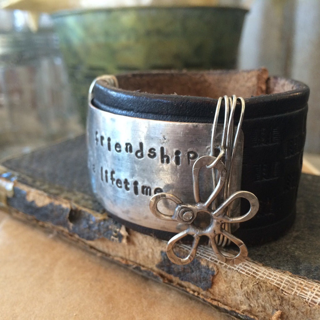 Leather Cuff Bracelet Stamped with true friendship lasts a lifetime CL-008