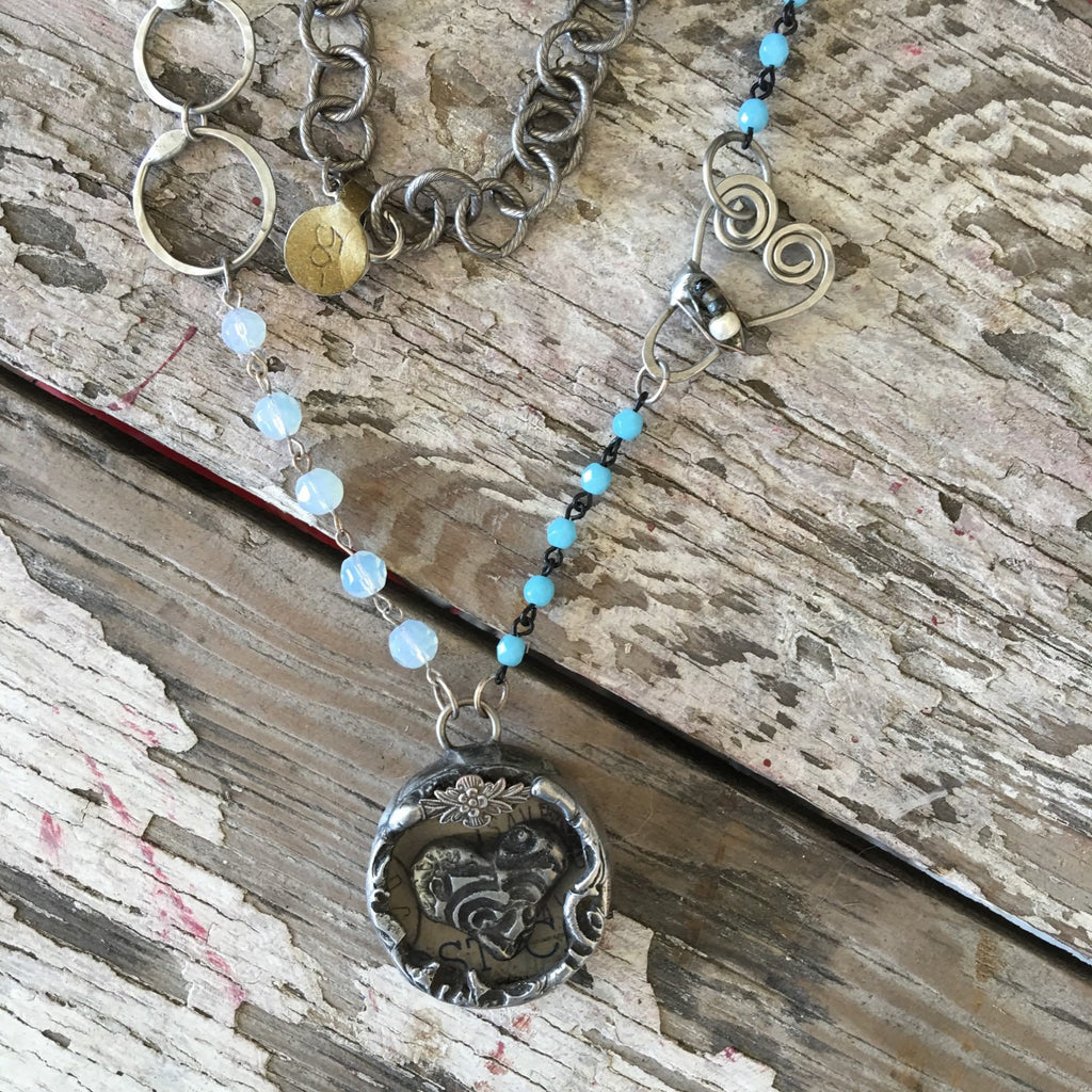 Round Glass Soldered Heart with Vintage Paper and handmade chain NS-002