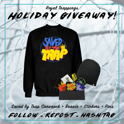 Royal Trappings Holiday Giveaway Crewneck Beanie Stickers Pins Free