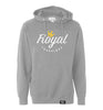 ROYAL TRAPPINGS LOGO PULL-OVER HOODIE SWEATSHIRT GRAY FRONT