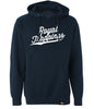 ROYAL TRAPPINGS CURSIVE PULL-OVER SWEATSHIRT HOODIE NAVY BLUE FRONT