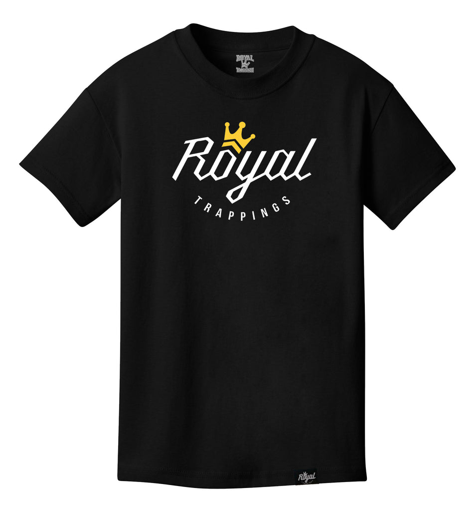 ROYAL TRAPPINGS LOGO TEE T-SHIRT BLACK FRONT