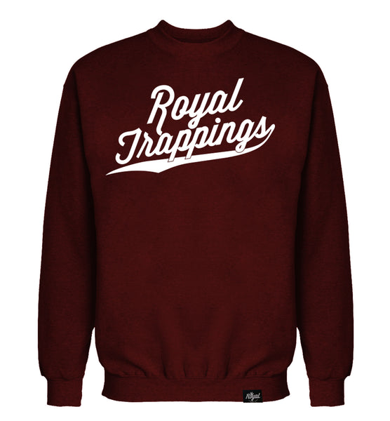 ROYAL TRAPPINGS CURSIVE CREWNECK SWEATSHIRT BURGUNDY FRONT