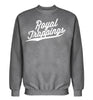 ROYAL TRAPPINGS CURSIVE CREWNECK SWEATSHIRT HEATHER GRAY FRONT