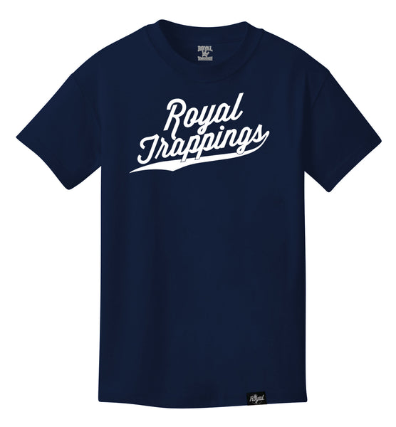 ROYAL TRAPPING CURSIVE TEE T-SHIRT NAVY BLUE FRONT