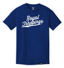 ROYAL TRAPPING CURSIVE TEE T-SHIRT ROYAL BLUE FRONT