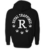 ROYAL TRAPPINGS R ZIP UP HOODIE SWEATSHIRT BLACK BACK