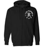 ROYAL TRAPPINGS R ZIP UP HOODIE SWEATSHIRT BLACK FRONT