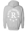 ROYAL TRAPPINGS R ZIP UP HOODIE SWEATSHIRT GRAY BACK