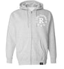 ROYAL TRAPPINGS R ZIP UP HOODIE SWEATSHIRT GRAY FRONT
