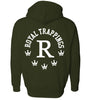 ROYAL TRAPPINGS R ZIP UP HOODIE SWEATSHIRT OLIVE GREEN BACK