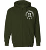 ROYAL TRAPPINGS R ZIP UP HOODIE SWEATSHIRT OLIVE GREEN FRONT