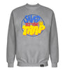 ROYAL TRAPPINGS SAVED BY THE TRAP CREWNECK SWEATSHIRT GRAY FRONT