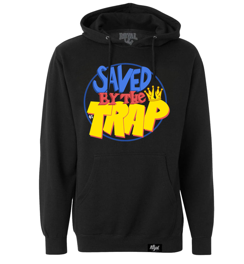 ROYAL TRAPPINGS SAVED BY THE TRAP PULLOVER HOODIE SWEATSHIRT BLACK FRONT