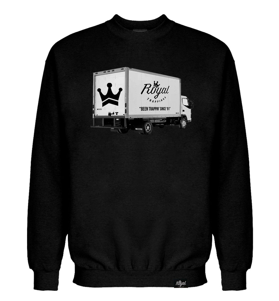 ROYAL TRAPPINGS TRAP TRUCK CREWNECK SWEATSHIRT BLACK FRONT