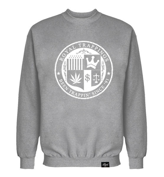 ROYAL TRAPPINGS SEAL CREWNECK SWEATSHIRT GRAY FRONT