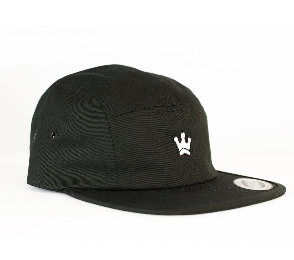 ROYAL TRAPPINGS FIVE PANEL CROWN HAT BLACK FRONT