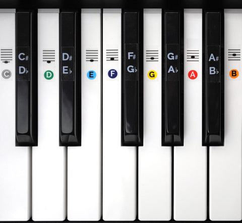 Color Piano Keyboard Stickers for 49 / 61 / 76 / 88 Keys