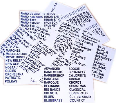 Sheet Music Divider Labels