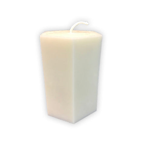 "Hexagon 6"" Soy Pillar Candle by Arbutus Candle Company"