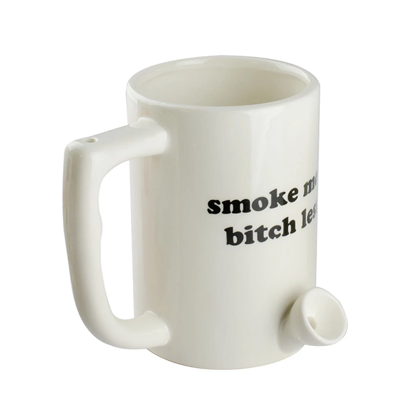 Coffee Mug Pipe with Decal - Smoke More, Bitch Less