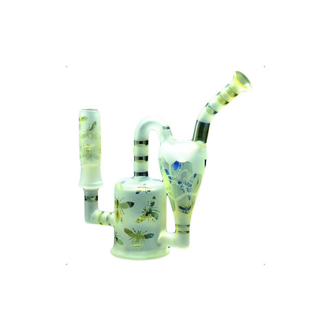 "GEAR 6"" Bees Knees Mini Recycler with Inline Perc 14mm Dab Rig"