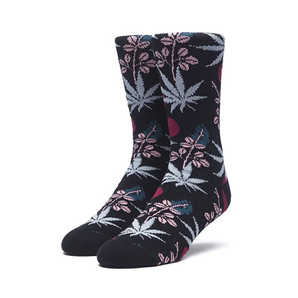 HUF Cherry Blossom Plantlife Crew Sock in Black